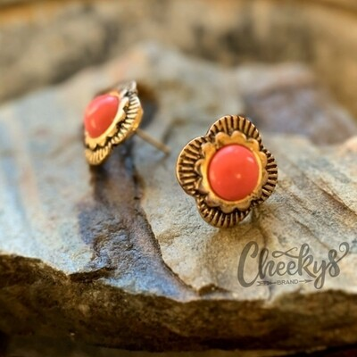 The Patsy Stud Earrings in Coral and Burnished Gold