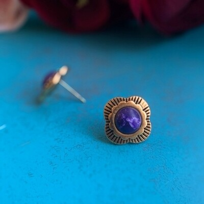 The Patsy Stud Earrings in Cobalt Blue and Burnished Gold