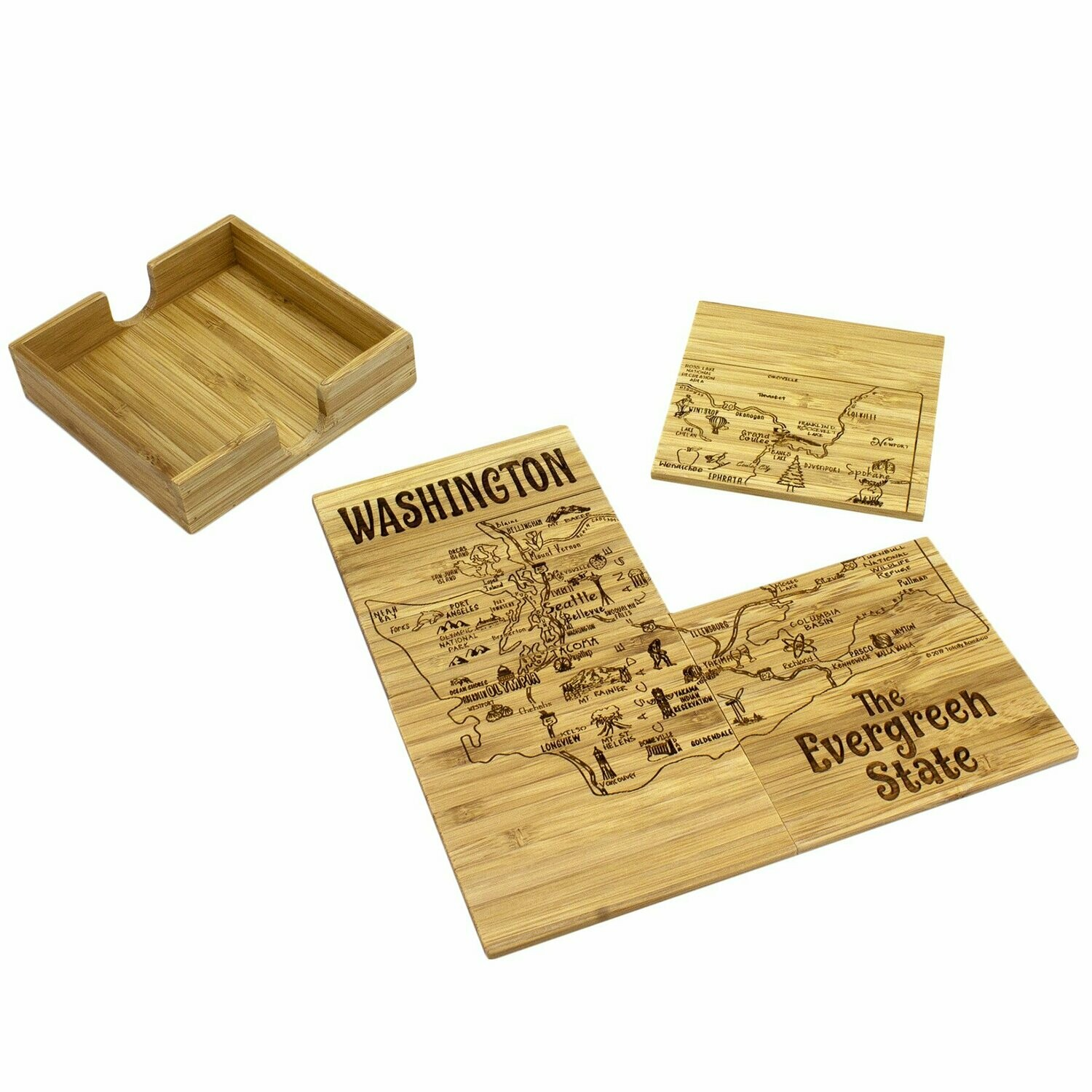 Washington Puzzle 4-Pc. Coaster Set with Case
