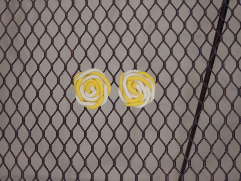 Yellow and White Rose Swirl Stud