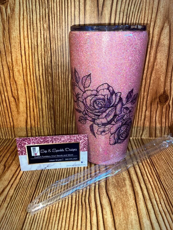 20 oz Rose Travel Tumbler