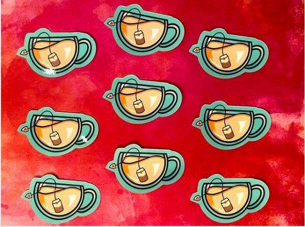 A cozy cup of tea sticker