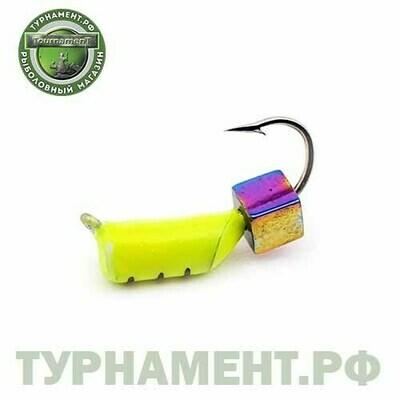 Мормышка EXPERT PRO вольфрам Столбик d2,5мм с кубиком Хамелеон (лимонный)(447)