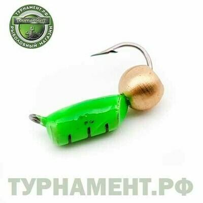 Мормышка EXPERT PRO вольфрам Столбик d2,5мм с лат.шариком зеленый (444)