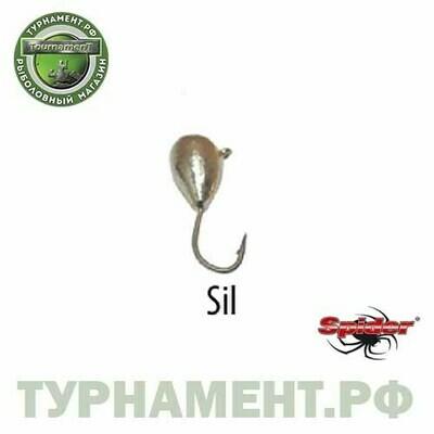 Мормышка W Spider Капля с ушком 2,5 мм 0,26 гр. Sil