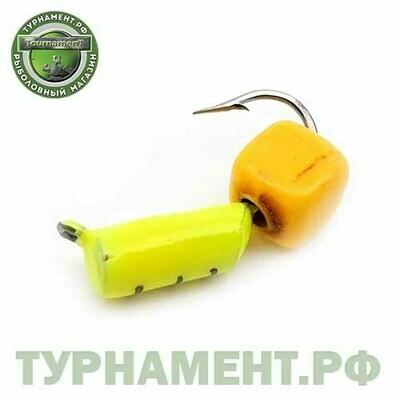 Мормышка EXPERT PRO вольфрам Столбик d2,5мм с Сырным кубиком (лимонный)(484)