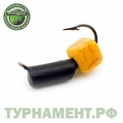Мормышка EXPERT PRO вольфрам Столбик d2,5мм с Сырным кубиком (черный)(496)