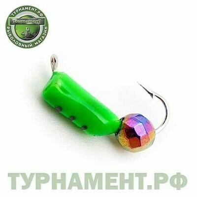 Мормышка EXPERT PRO вольфрам Столбик d3мм с гран.шариком Хамелеон (зеленый)(477)