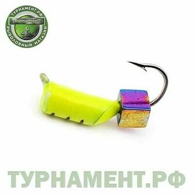 Мормышка EXPERT PRO вольфрам Столбик d3мм с кубиком Хамелеон (лимонный)(448)