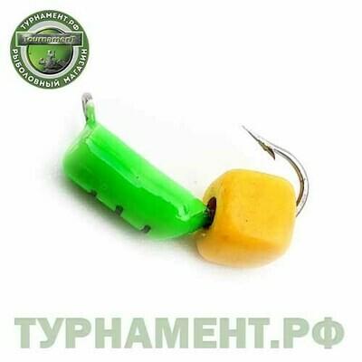 Мормышка EXPERT PRO вольфрам Столбик d3мм с Сырным кубиком (зеленый)(493)