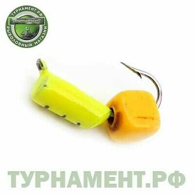 Мормышка EXPERT PRO вольфрам Столбик d3мм с Сырным кубиком (лимонный)(485)