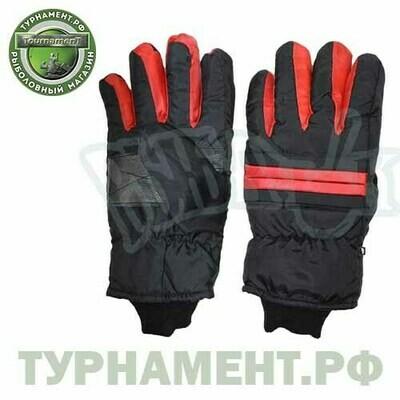 Перчатки горнолыжные черные с красной вставкой 018