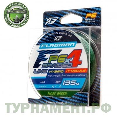 FLAGMAN Шнур PE Hybrid F4 135м MossGreen 0,08мм 3,6кг 8lb