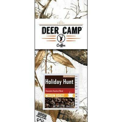 DEER CAMP Coffee - Holiday Hunt Chocolate Hazelnut Ground 12 oz - Seasonal GROUND