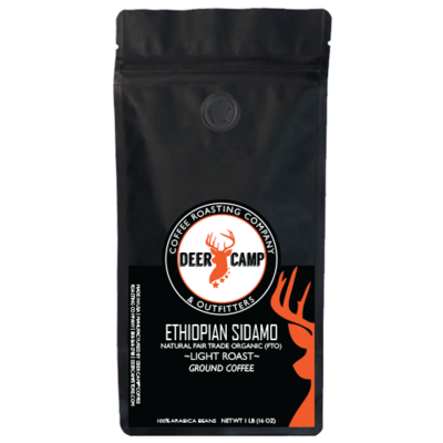 DEER CAMP Coffee - Ethiopian Sidamo Natural Fair Trade Organic  Light Roast 1lb Ground