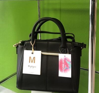 Black Miztique with Gold bar handbag