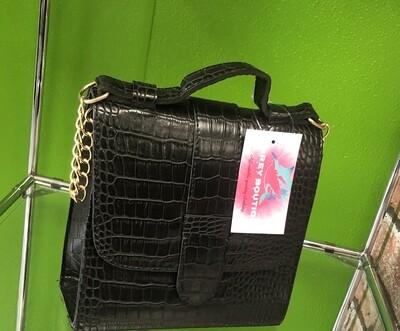 Black Crocodile with chain Handbag