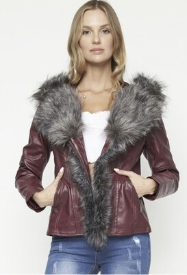Burgundy,Vegan Leather,Fur Jacket