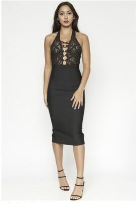 Black Gold Buttoned Dress