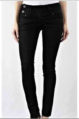 Black,Side Button,GJG,Skinny Jeans
