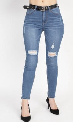 High Waisted Belted Jeans