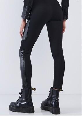 Black,Vegan Leather Python Print Trim, Leggings