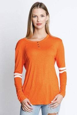 Orange,HYFVE,Stripe Sleeve,Top