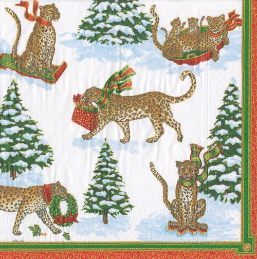 Leopards Snow Guest Towel