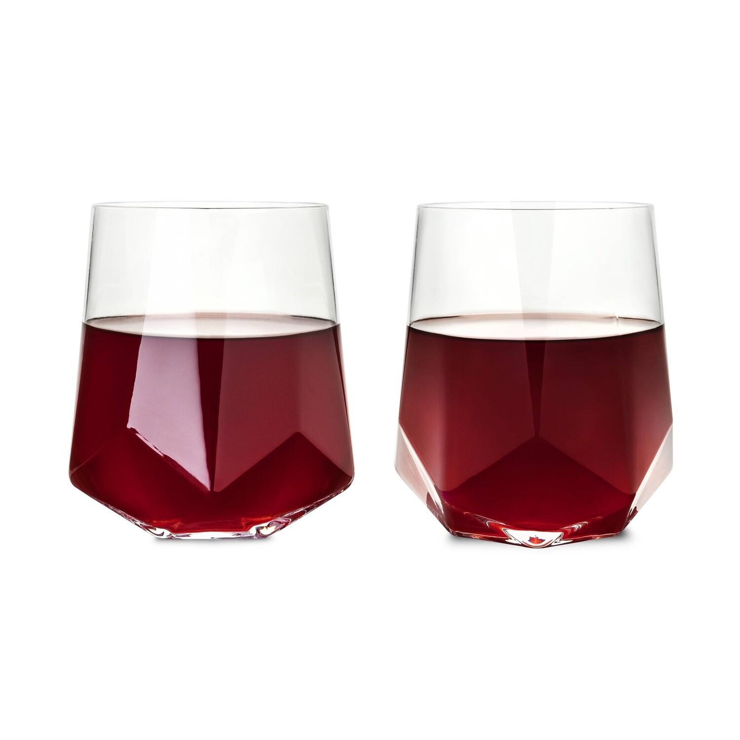 Faceted Wine Glass S/2