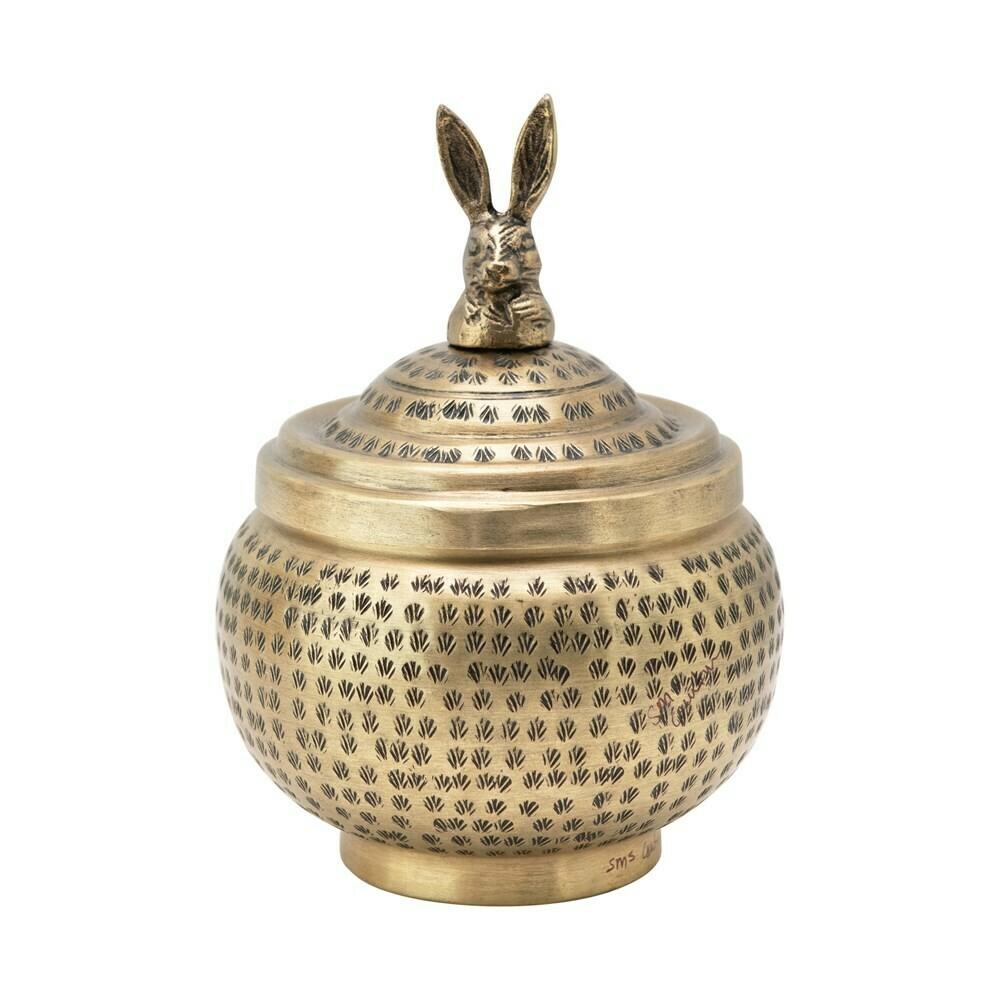 Brass Jar- Rabbit Finial