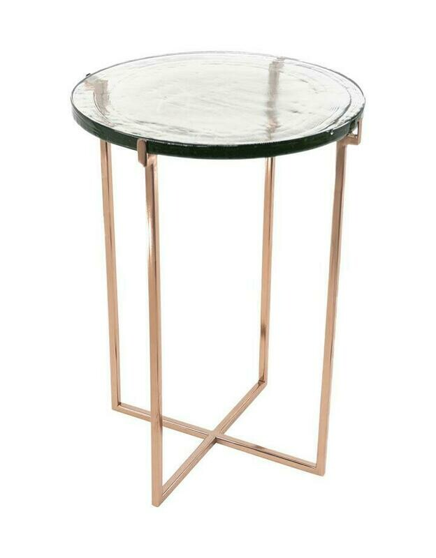 Glass Side Table- Rose Gold