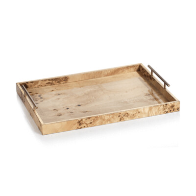 Lacquered Burl Wood Tray 13