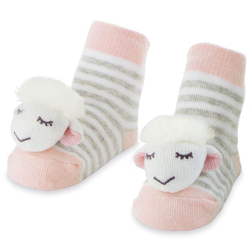 Pink Sheep Rattle Socks