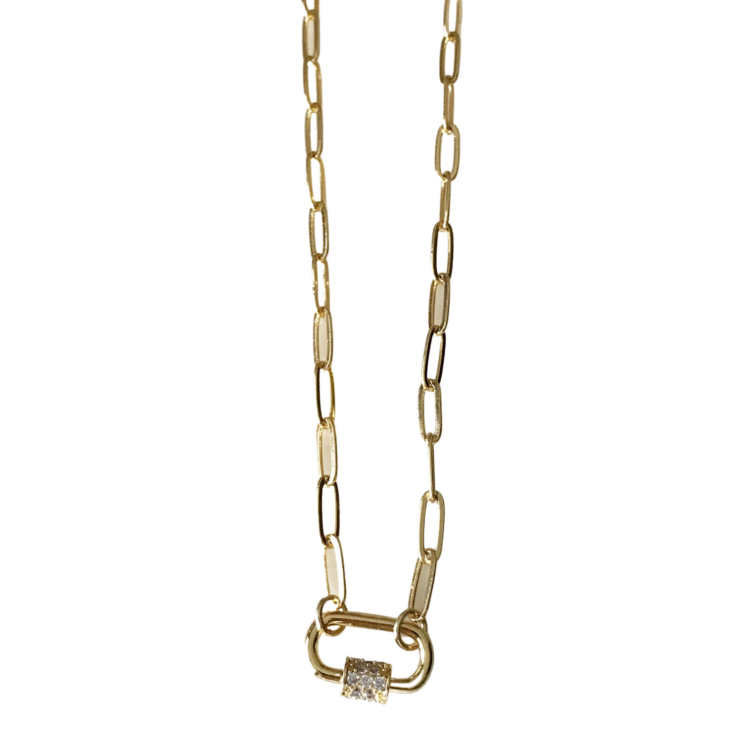 Carabiner Pave Necklace