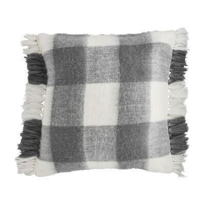 Fringe Pillow- Gray