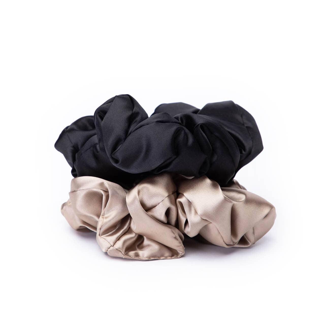 Satin Pillow Scrunchies- Bk/Gd