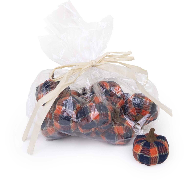 Sm Pumpkin Bag- Navy Plaid