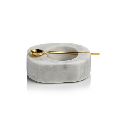 Bowl with Brass Spoon- Wh