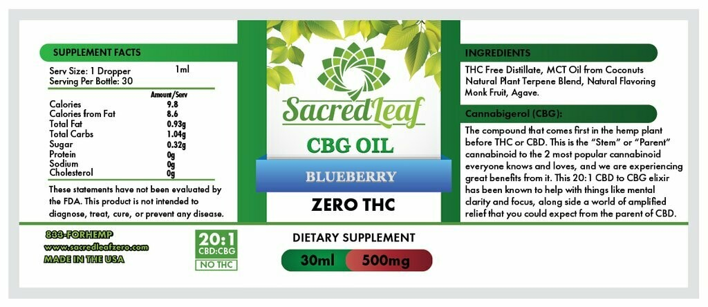CBG Oil 20:1 CBD to CBG Blueberry OG