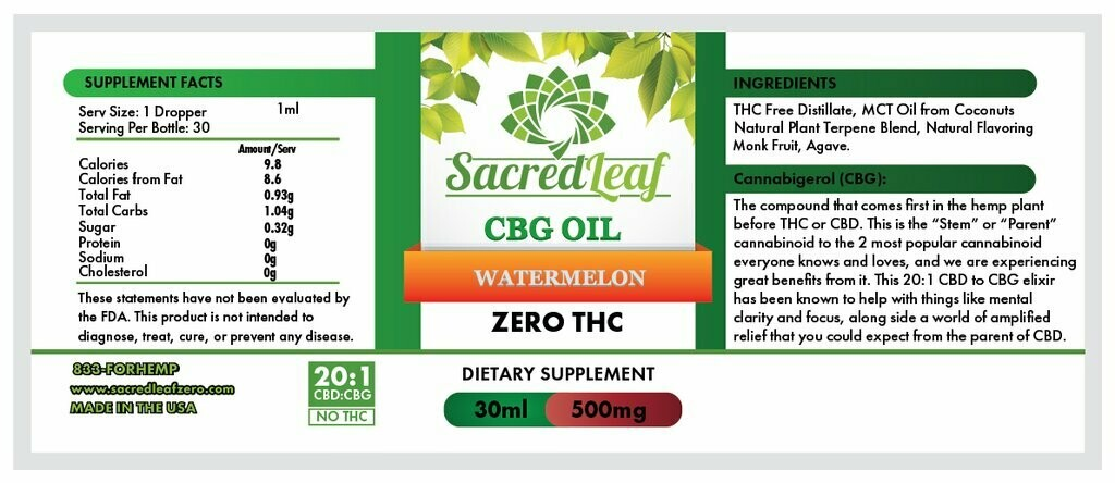CBG Oil 20:1 CBD to CBG Watermelon OG