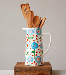 Blue & Red Floral Stoneware Pitcher