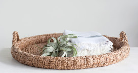 Round Braided Bankuan Tray with Handles