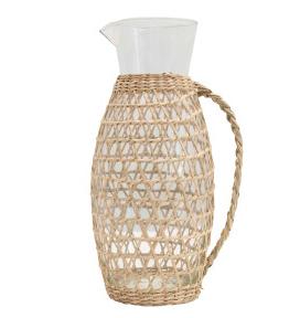 64 oz. Glass Pitcher w/Woven Rattan Seagrass Sleeve