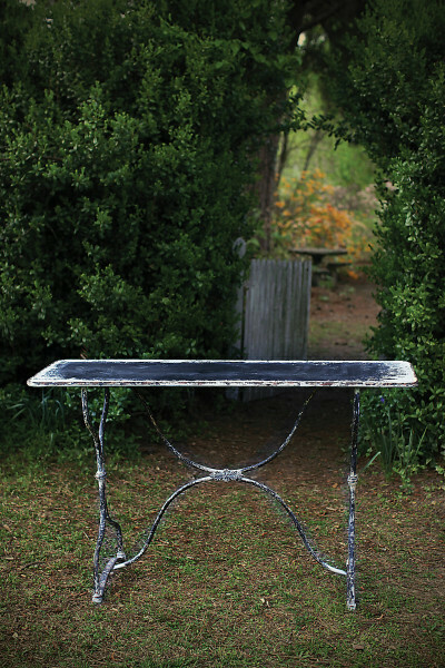 Distressed Black & White Metal Table