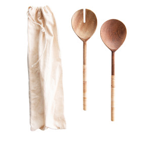 "11"" Bamboo Wrapped Salad Servers"
