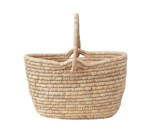 Hand-Woven Grass and Date Leaf Basket with Handle
