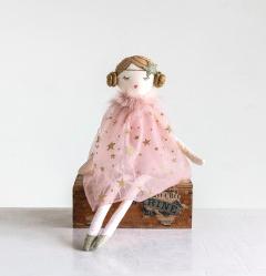 Plush Ballerina Doll w/ Pink & Gold Star Dress