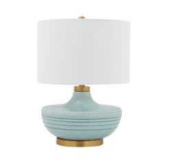 Striped Aqua Ceramic Table Lamp with White Linen Shade