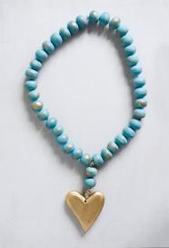 Aqua Mango Wood Bead Strand w/Gold Heart Pendant
