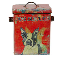 Vintage Tin Dog Biscuit Container w/Boston Terrier